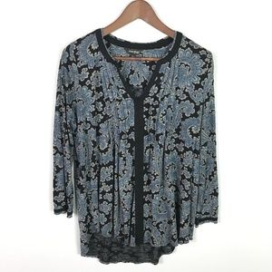 Lucky Brand Women's Paisley Peasant Top Size Large
